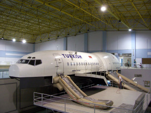 A cabin mock-up used as part of a Flight Attendant Training course with Turkish Airways.